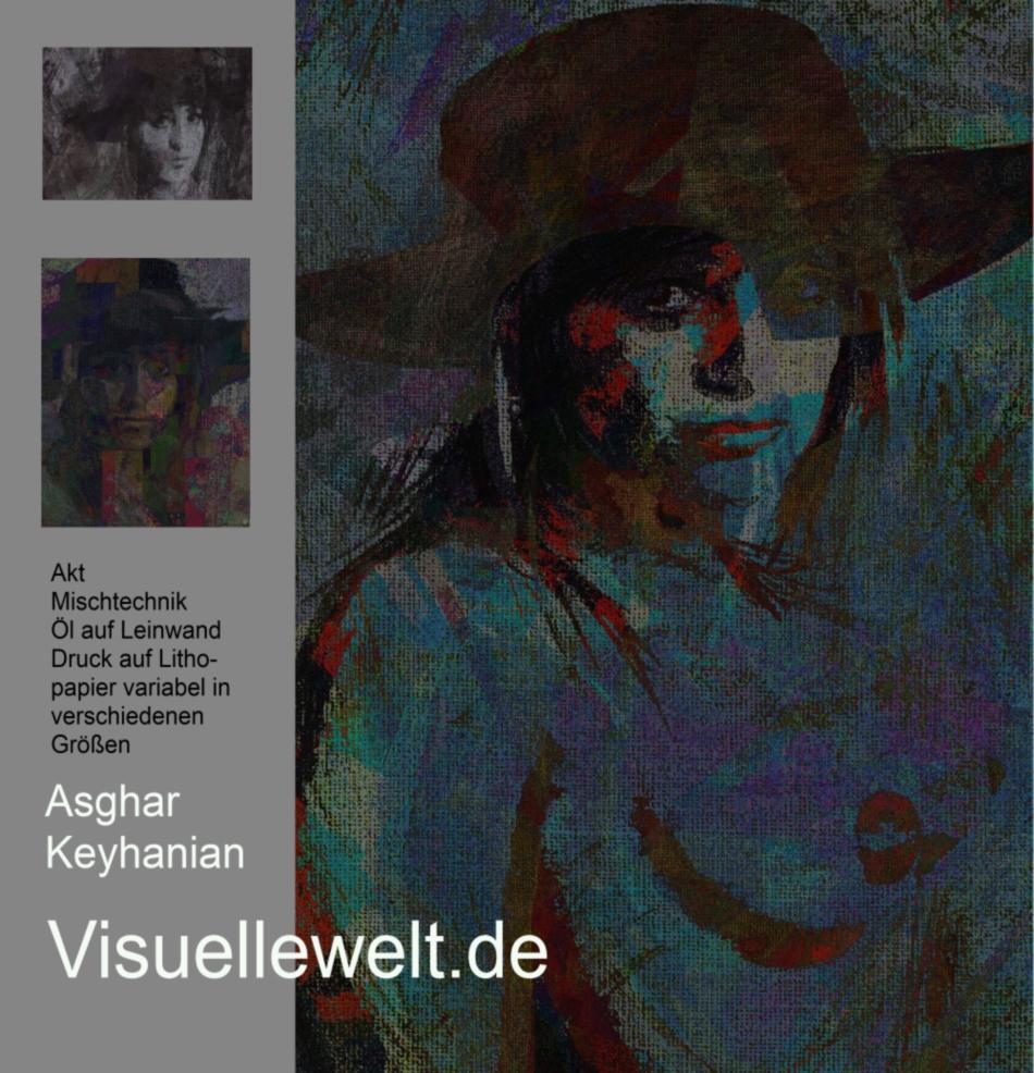 Abstrakte expressionistische Farbkomposition abstract expressionist painting composition Weiblicher Akt - Mischtechnik auf Leinwand