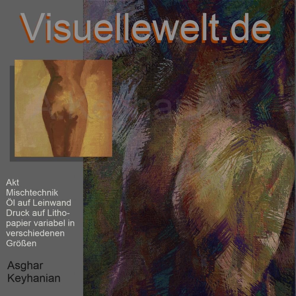 Weiblicher Akt – Mischtechnik auf Leinwand Druck auf Lithopapier, 50 x 70 cm Copyright A. Keyhanian