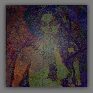 Weiblicher Akt – Mischtechnik Mixed Media Art; Druck auf Alu-Dibond Platte, 80x 80 cm by Asghar Keyhanian