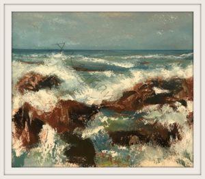 Öl auf Pappe Das Meer Druck auf Lithopapier, 60x 60 cm by Asghar Keyhania