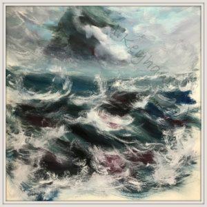 Das Meer Öl Auf Pappe Mischtechnik Druck auf Lithopapier, 60 x 60 cm by Asghar Keyhania