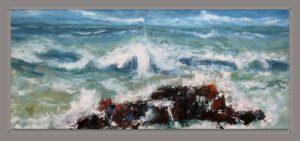 Das Meer Brandung Öl Auf Leinwand 100 cm x 40 cm Mischtechnik