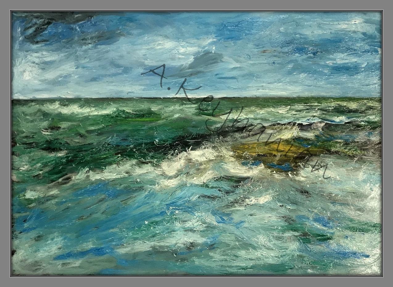Das Meer Brandung Öl Auf Leinwand 140 cm x 90 cm Mischtechnik