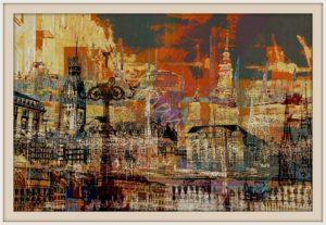 Hamburg Ansichten Hamburg Rathaus Mischtechnik 80 x 60 cm Druck auf Lithopapier, Variabel