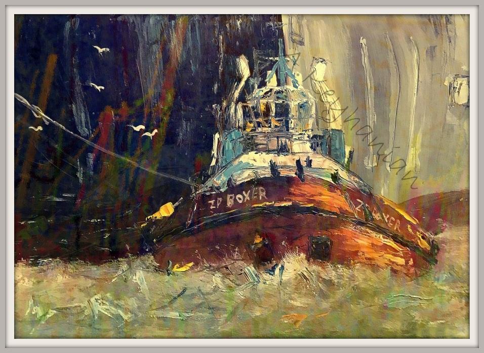 Hamburg Ansichten Hamburg Hafen Schlepper ZP BOXER Mischtechnik 80 x 60 cm Öl Auf Pappe Druck auf Lithopapier, Variabel