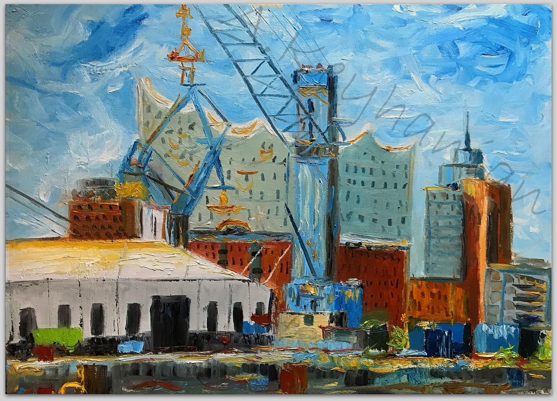 Elbphilharmonie Hamburg Ansichten Hamburg Hafen Öl auf Leinwand 100 x 70 cm Druck auf Lithopapier, Variabel
