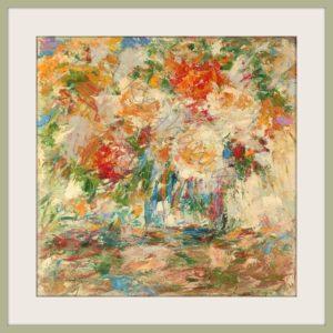 Blumen Stilleben Öl auf Pappe Druck auf Lithopapier, 80 x 80 cm