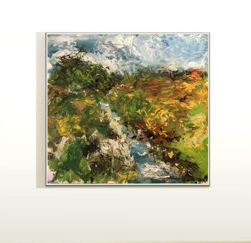 Öl auf Leinwand Abstrakte expressionistische Farbkomposition abstract expressionist painting composition Druck auf Lithopapier, by Keyhanian 80 x 80 cm