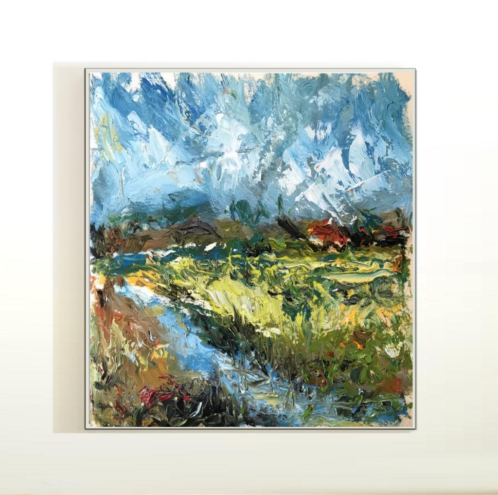 Öl auf Leinwand Abstrakte expressionistische Farbkomposition abstract expressionist painting composition Druck auf Lithopapier, by Keyhanian 80 x 90 cm