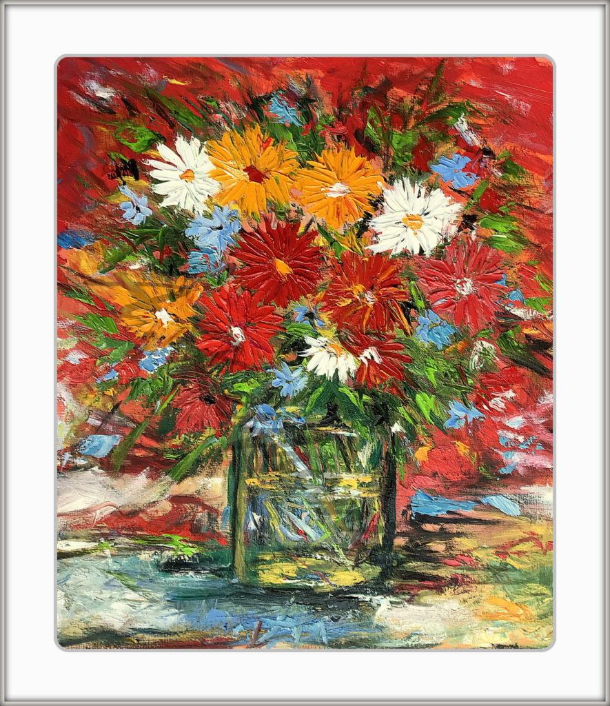 Blumen Stilleben Öl auf Pappe Druck auf Lithopapier, 60 x 80 cm