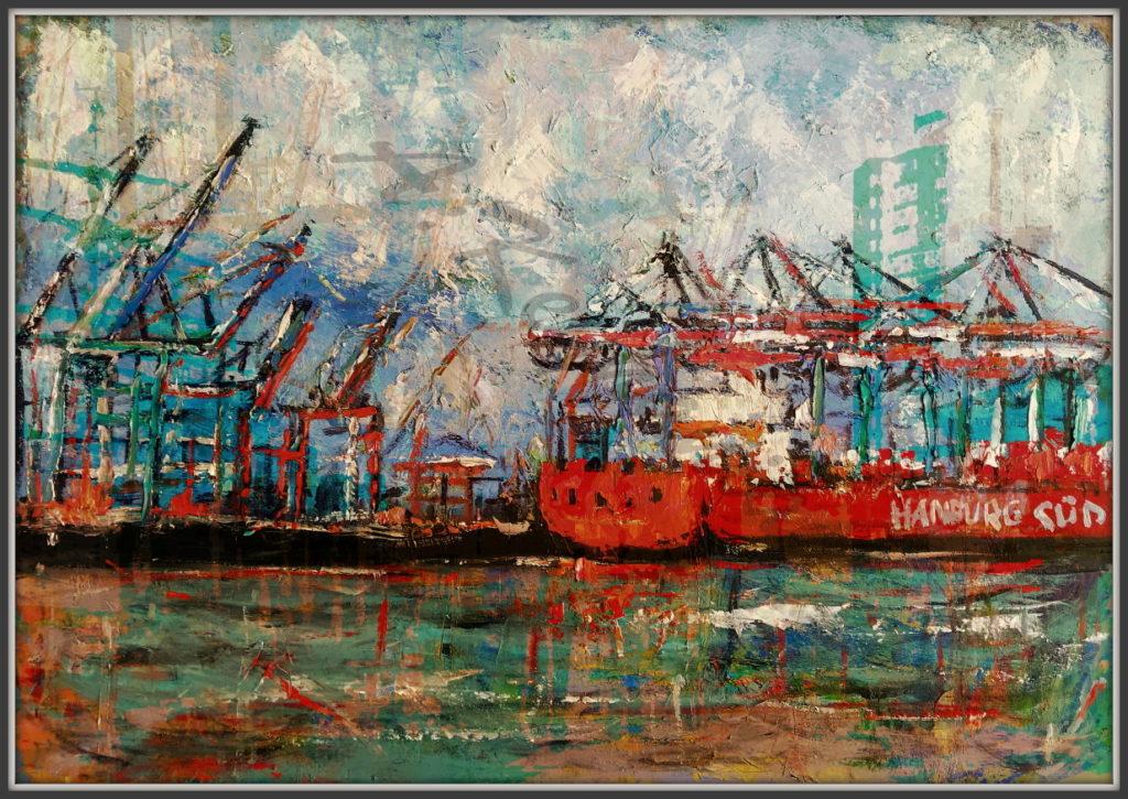 Hamburg Ansichten Hamburg Hafen mischtechnik 100 x 70 cm Öl Auf Pappe Druck auf Lithopapier, Variabel
