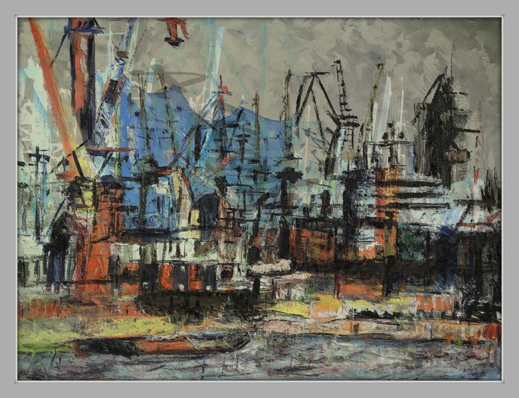 Elbphilharmonie Hamburg Ansichten Hamburg Hafen mischtechnik 100 x 140 cm Öl Auf Pappe Druck auf Lithopapier, Variab
