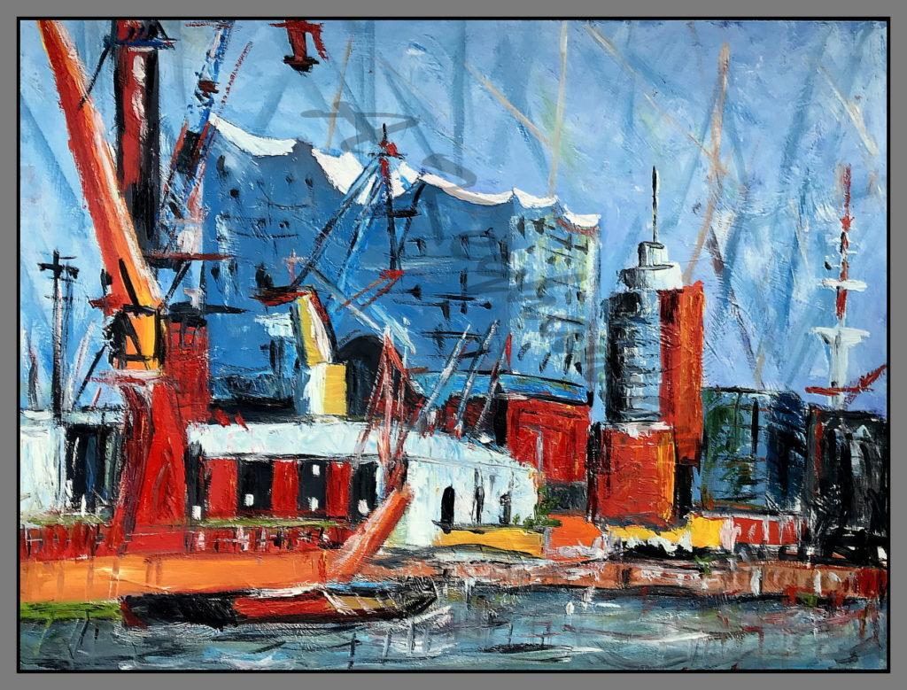 Hamburg Ansichten Hamburg Hafen Elbphilharmonie Druck auf Lithopapier, Variabel