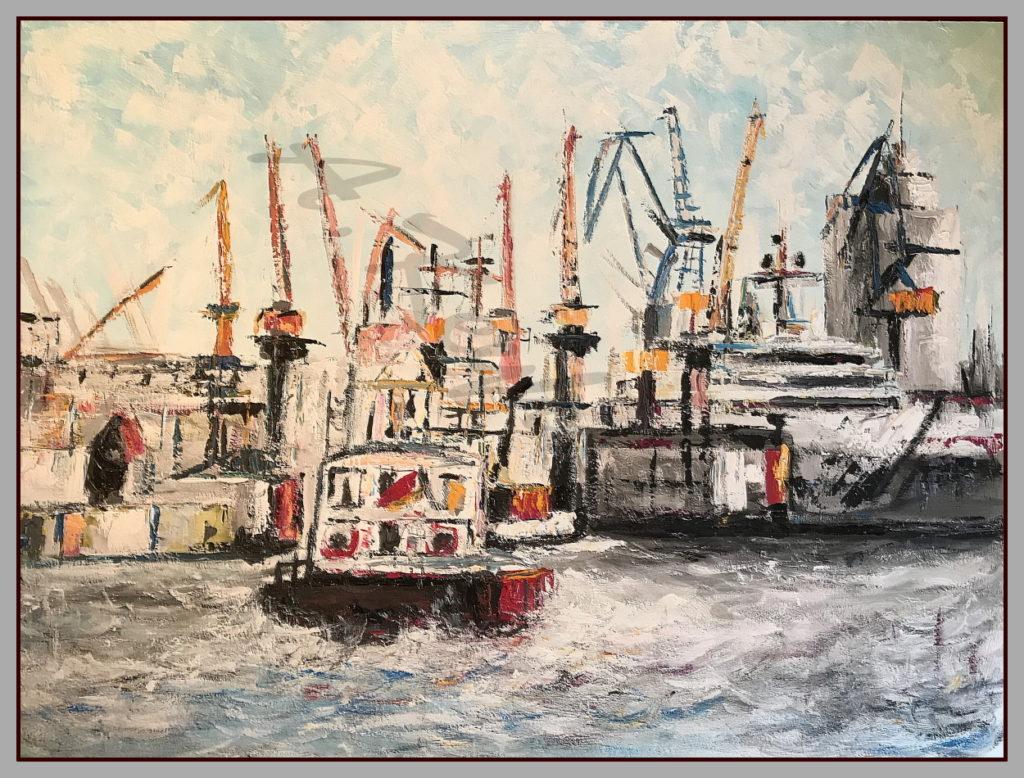 Hamburg Ansichten Hamburg Hafen 140 cm x 100 cm Druck auf Lithopapier, Variabel