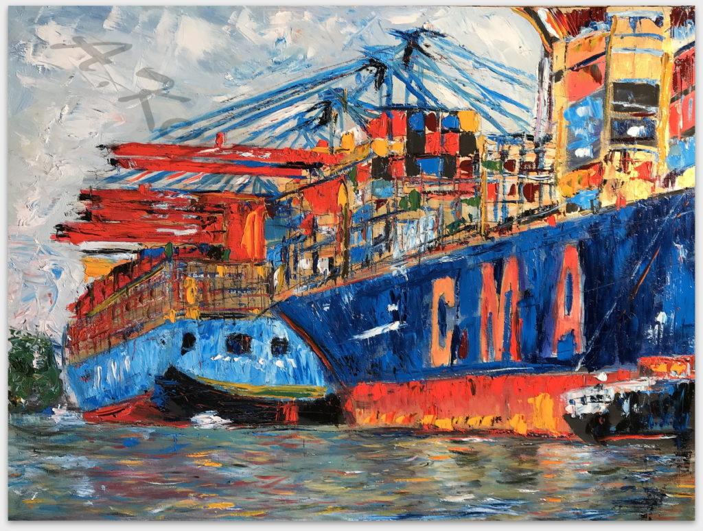 Hamburg Ansichten Hamburg Hafen Druck auf Lithopapier, Variabel